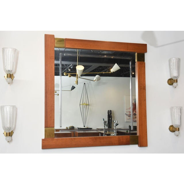 Gold Large Italian Modern Walnut and Brass Mirror, Attributed to Giovanni Michelucci For Sale - Image 8 of 8
