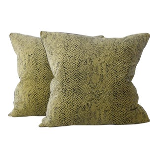 Snakeskin Velvet Pillows - A Pair For Sale