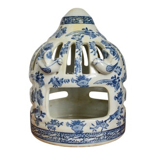 20th Century Asian Hand Painted Ceramic Blue and White Bird House For Sale