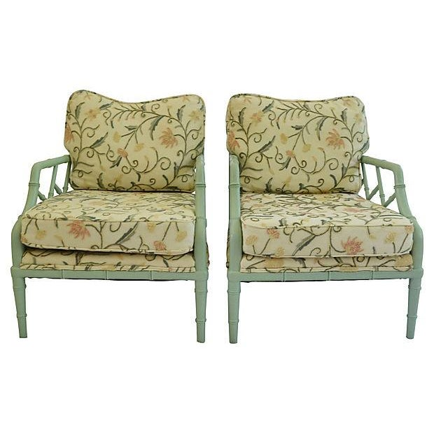 Crewel Faux-Bamboo Lounge Chairs - A Pair - Image 1 of 7