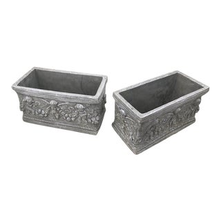 Rectangular Cement Planters With Cherubs - A Pair For Sale