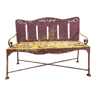 Folky Wrought Iron Antique Garden Bench For Sale
