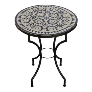 Moroccan Fez Mosaic Blue and White Tiles Bistro Table For Sale