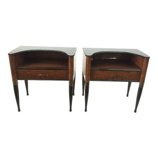 Italian Burlwood Side Tables or Night Stands in the Style of Gio Ponti - a Pair For Sale