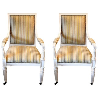 Pair of White Lacquered Salon Chairs For Sale