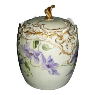 Antique Hand Painted Floral Biscuit Jar For Sale