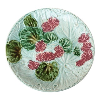 1890s Majolica Salins Geranium Plate For Sale