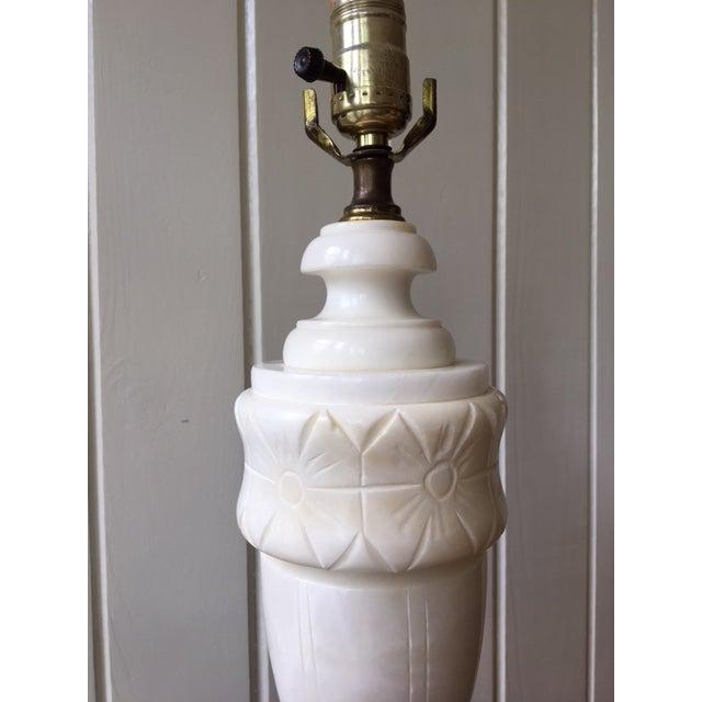 White Vintage Alabaster Marble Lamp For Sale - Image 8 of 10
