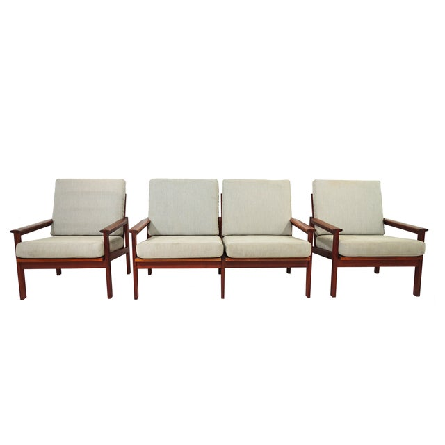 Mid-Century Wikkelso Sofa & Two Lounge Chairs - Image 1 of 9