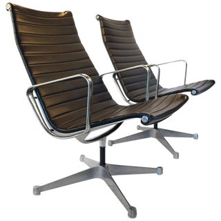 Charles Eames for Herman Miller Aluminium Group Swivel Lounge Chairs For Sale