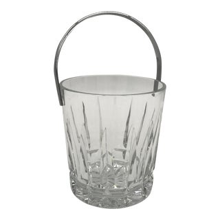Vintage Crystal Ice Bucket With Nickel Handle For Sale