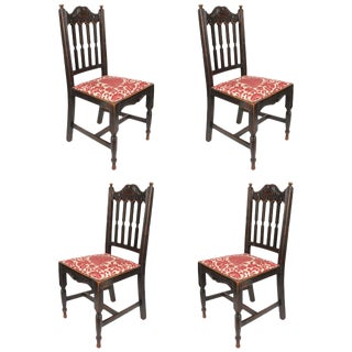 Antique Oak Chairs - Set of 4 For Sale