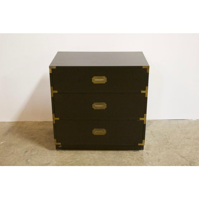 Black Lacquered Three Drawer Campaign Chest For Sale In New York - Image 6 of 12