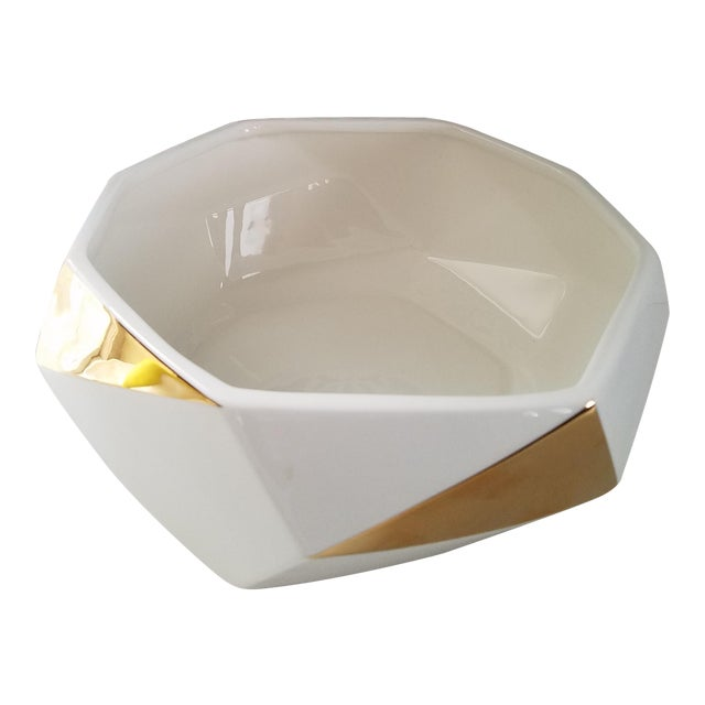 White & Gold Faceted Bowl - Image 1 of 5