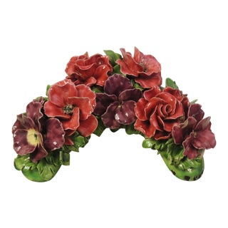 Early 20th Century French Majolica Flowers For Sale