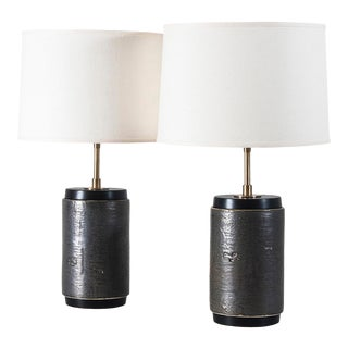 Porter Lamp in Rugged Bark Glaze - a Pair