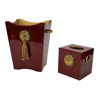 Mike & Ally n.y.c. Waste Basket and Tissue Box Cover - a Pair For Sale