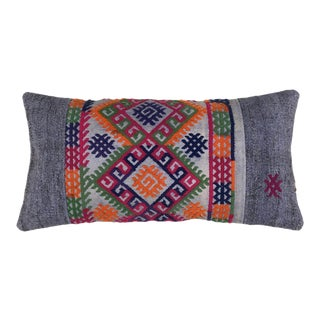 "Vintage Kilim Lumbar Pillow | 12""x24"" For Sale"