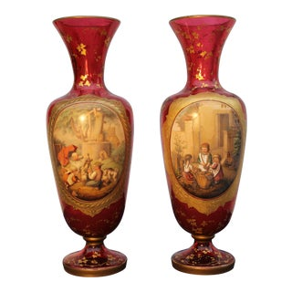 Pr. Of Czechoslovakian/Bohemian Glass Vases With Raised Painted Panels For Sale