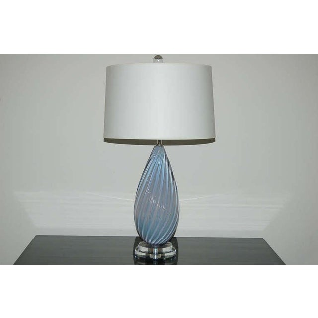 Hollywood Regency Vintage Murano Opaline Glass Table Lamps Lavender- A Pair For Sale - Image 3 of 7
