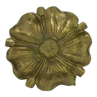 Antique Brass Flower Ashtray For Sale
