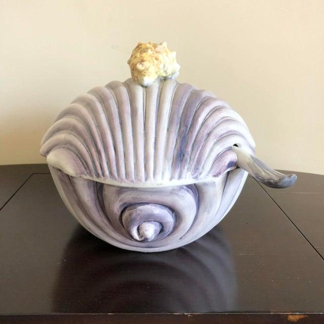 Mid 20th Century Purple Yellow Italian Pottery Sea Shell Tureen For Sale - Image 5 of 10