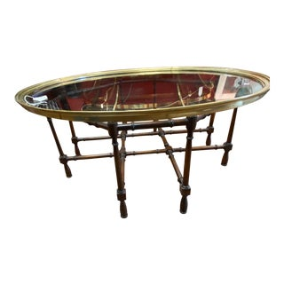 Baker Chinoiserie Glass/ Brass Top Coffee Table with Faux Bamboo Base For Sale
