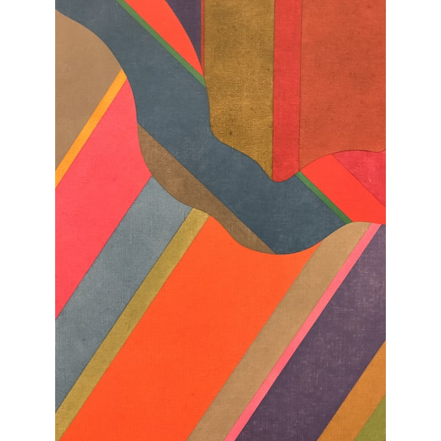 Large 1970s Graphic Hardedge Geometric Painting by Roland Ginzel For Sale - Image 11 of 12