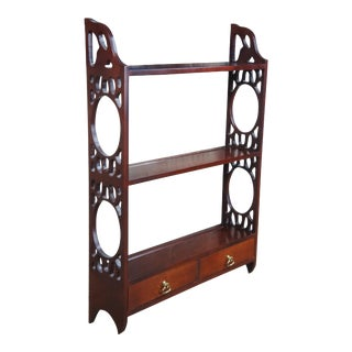 Vintage Chippendale Style Cherry Wall Shelf Plate Rack Hanging Display For Sale
