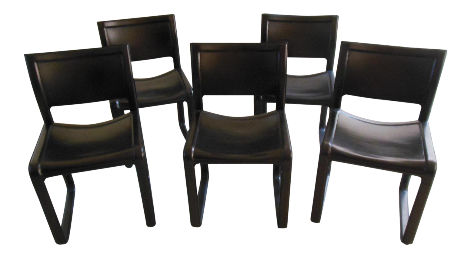 Matteo Grassi Sistina Strap Black Leather Dining Chairs   Set Of 5 For Sale