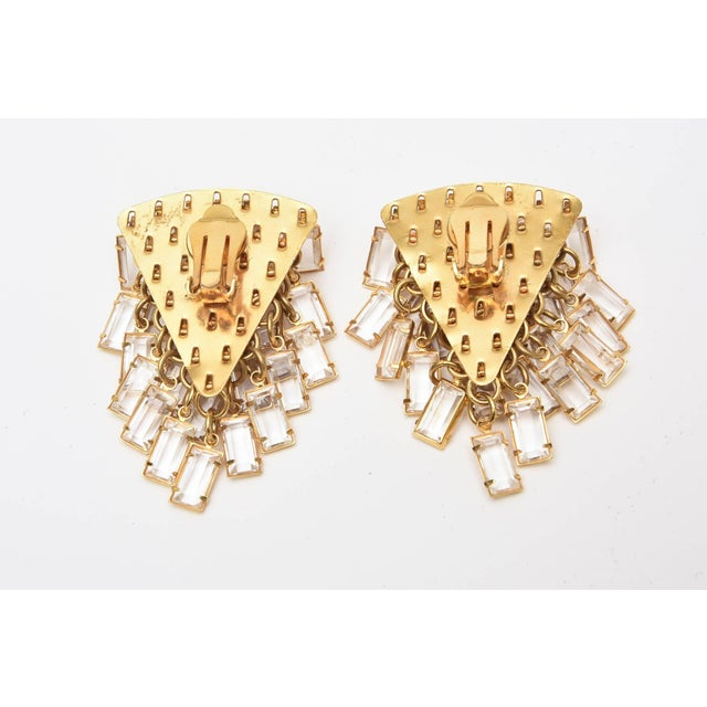 Italian Vintage Italian Gold Tone and Cascading Glass Sculptural Earrings - a Pair For Sale - Image 3 of 8