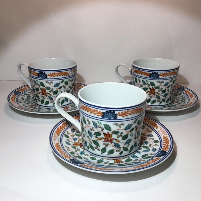 Japanese Imari Blossoms Teacups and Saucers by Georges Briard - Service for 3 For Sale - Image 3 of 12