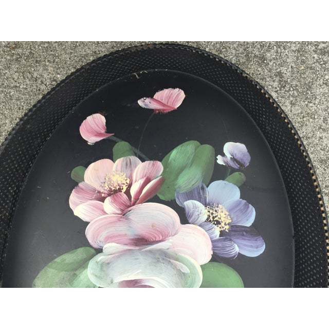 Cottage Small Hand-Painted Tole Tray Mesh Sides Floral For Sale - Image 3 of 10