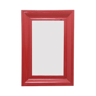 1970s Vintage Solid Wood Coral Red Wall Mirror For Sale