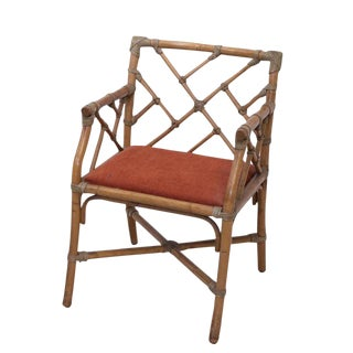 1960s Vintage Bamboo Chippendale Armchair For Sale