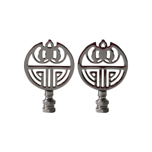 Chrome Art Deco-Style Finials - A Pair - Image 1 of 3
