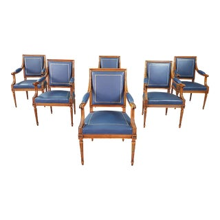 Louis XVI Leather Top Chairs - Set of 6 For Sale