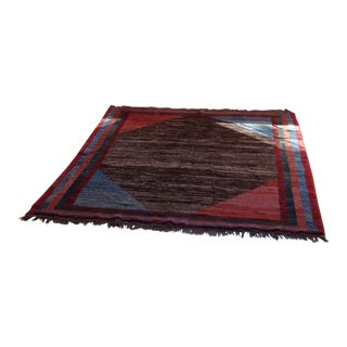 Authentic Iranian Gabbeh Area Rug - 5′ × 8′ For Sale