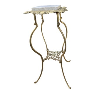 Antique Brass Plant Stand With White Italian Marble Top For Sale