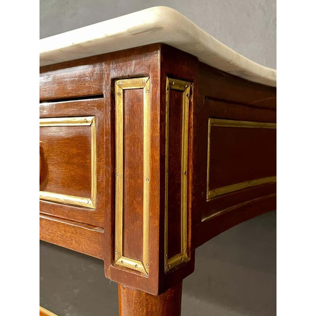 Brown Pair of Louis XVI Style Marble Top Consoles / Sideboards in the Jansen Manner For Sale - Image 8 of 13