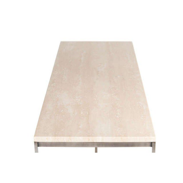 Pewter frame travertine top console table. Solid half inch square stock frame supports polished travertine top. Custom...