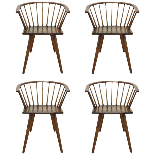Set of Four Russel Wright Conant Ball Captains Dining or Side Chairs For Sale