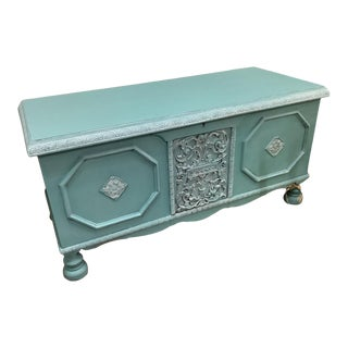Antique French Provincial Blue Footed Trunk For Sale