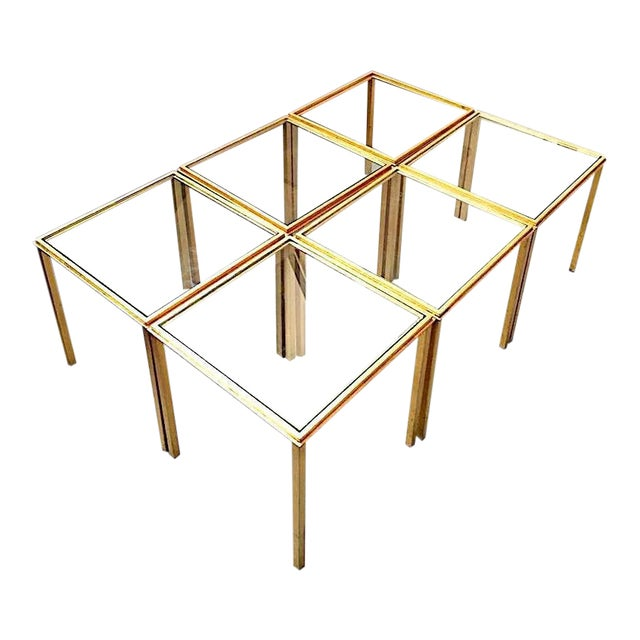 Roger Thibier Spectacular Gold Leaf Wrought Iron Big Coffee Table Made of 6 Unit For Sale