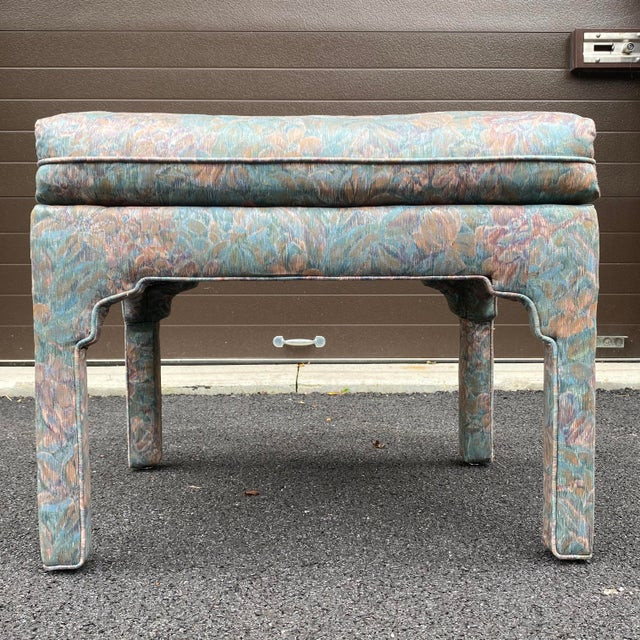 1980s Fully Upholstered Floral Bench For Sale - Image 10 of 13