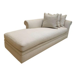 Custom Fainting Couch With Left Arm Rest and Textured Fabric For Sale
