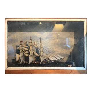Antique Diorama or Shadow Box of Sailing Vessel For Sale