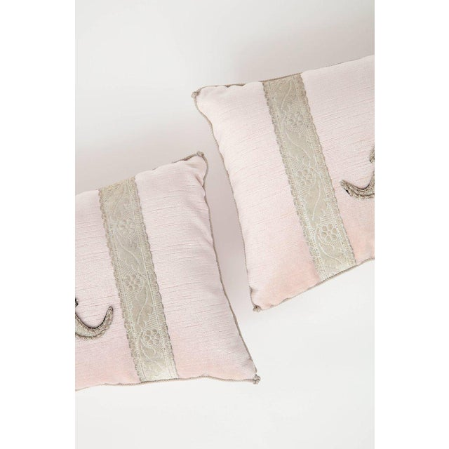 Pink Modern Blush Pink Velvet Pillows- A Pair For Sale - Image 8 of 9