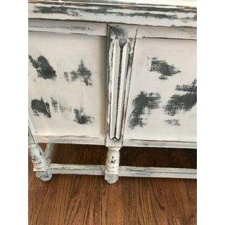 Antique Shabby Chic Annie Sloane Chalk Paris Gray Ikat Paint Storage Trunk Preview