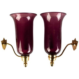 Pair of 19th Century Amethyst Colored Glass Hurricane Wall Sconces For Sale